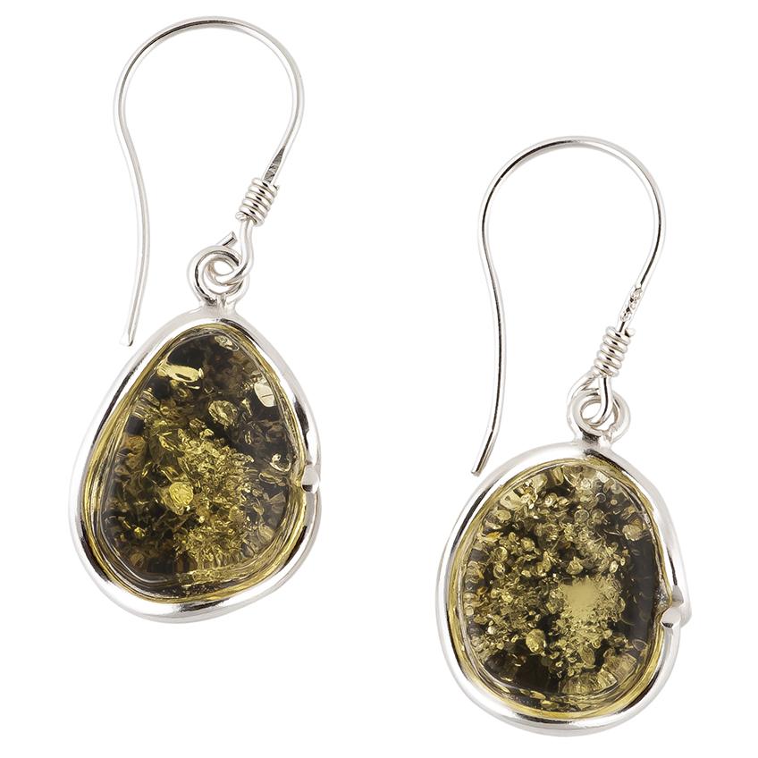 Green Amber Hook Earrings