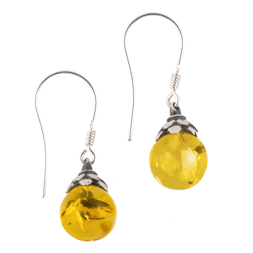 Lemon Amber Leaf Drop Earrings