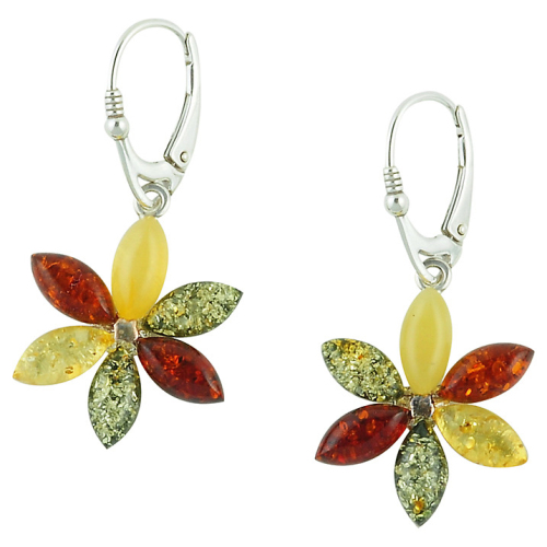 Multi Coloured Flower Design Drop Earrings