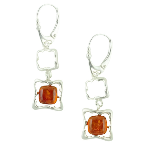 Square Frame Style Amber and Silver Earrings