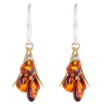 Amber and Gold Cluster Earrings