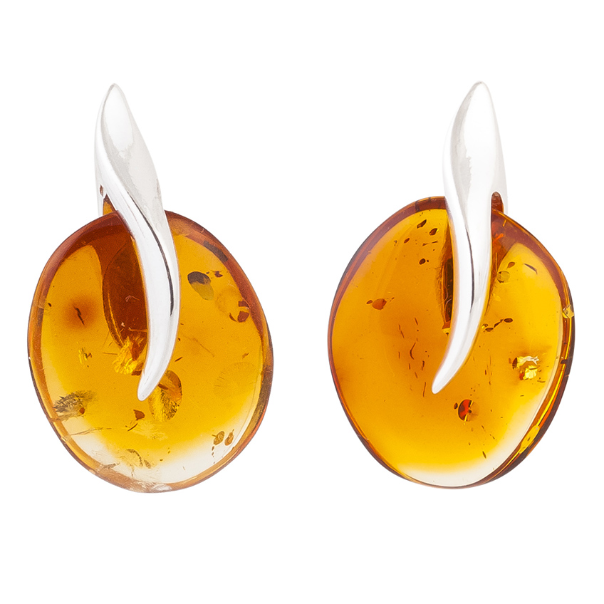 Amber and Silver Abstract Stud Earrings