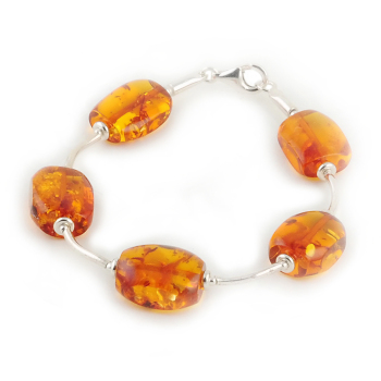 Amber and Sterling Silver Tube Bracelet