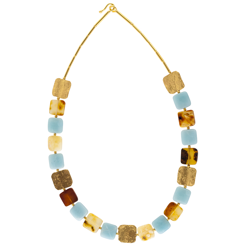 Amber and Amazonite Square Statement Necklace
