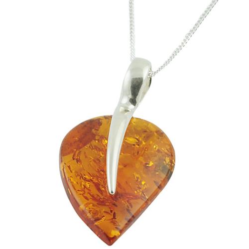 Amber Leaf Pendant Necklace