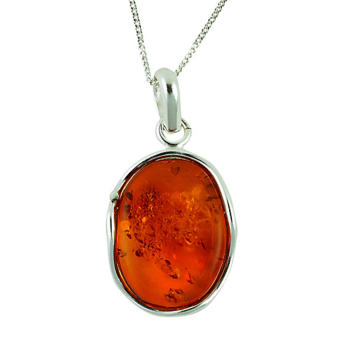 P005-Free Form Amber Pendant Necklace
