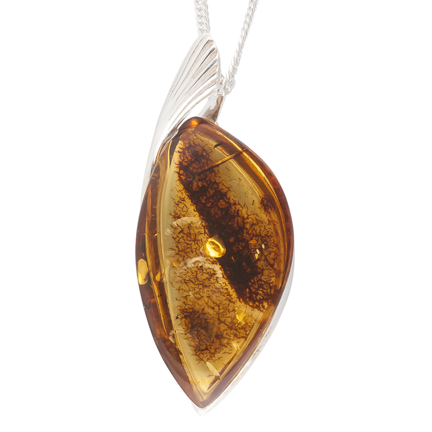Amber and Silver Pendant Necklace