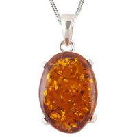 Amber and Silver Claw Set Pendant Necklace
