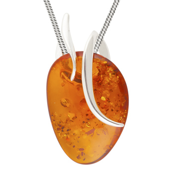 Abstract Amber and Silver Pendant Necklace