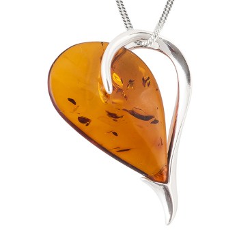 Amber and Silver Heart Pendant Necklace