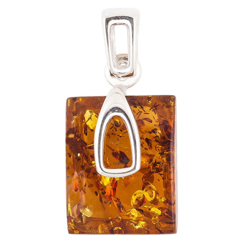 Amber and Silver Rectangle Pendant Necklace