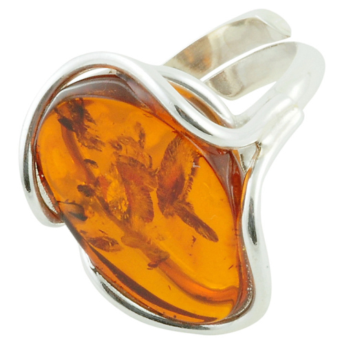 Free Form Adjustable Oval Amber Cocktail Ring