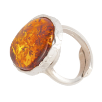 Amber and Silver Oval Adjustable Ring