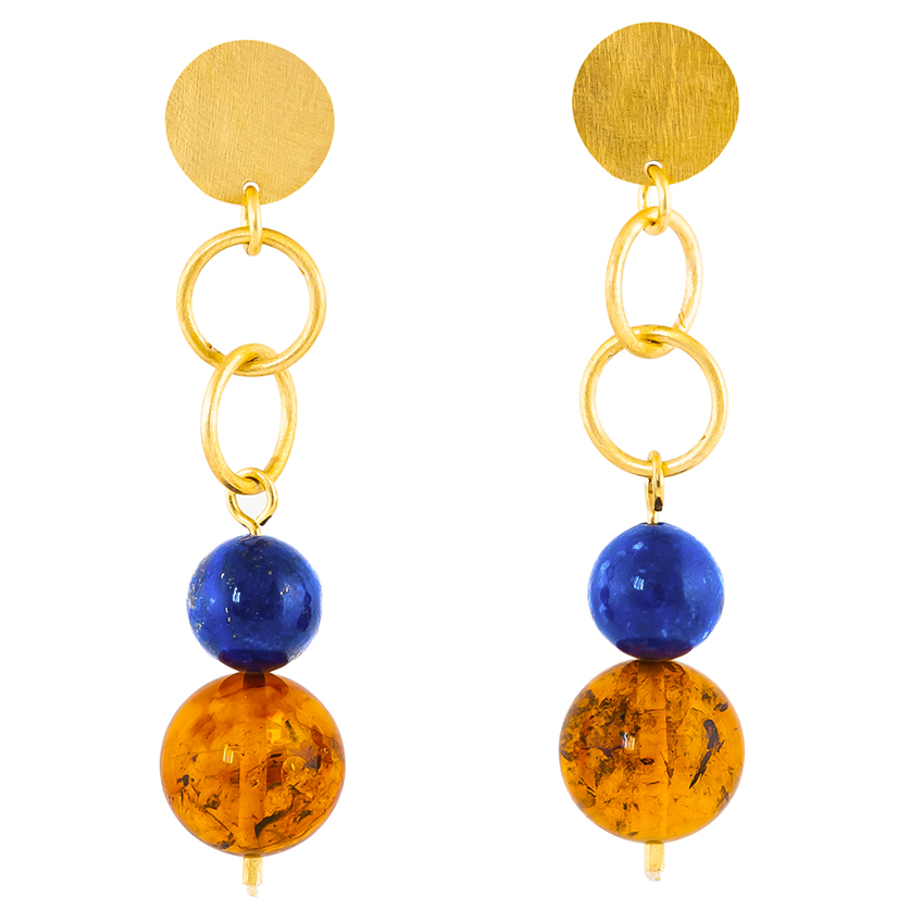 Baltic Amber and Lapis Lazuli ball drop stud earrings