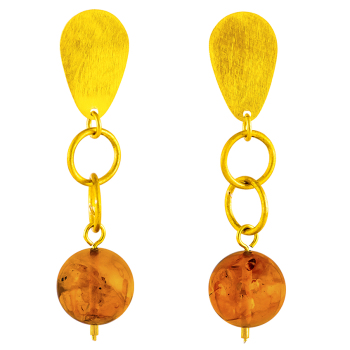 Baltic amber and gold plated sterling silver drop clip earrings