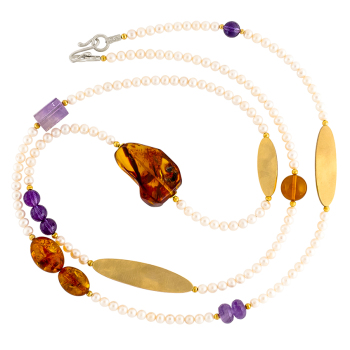 1920's Freshwater Pearl, Baltic Amber and Amethyst Necklace