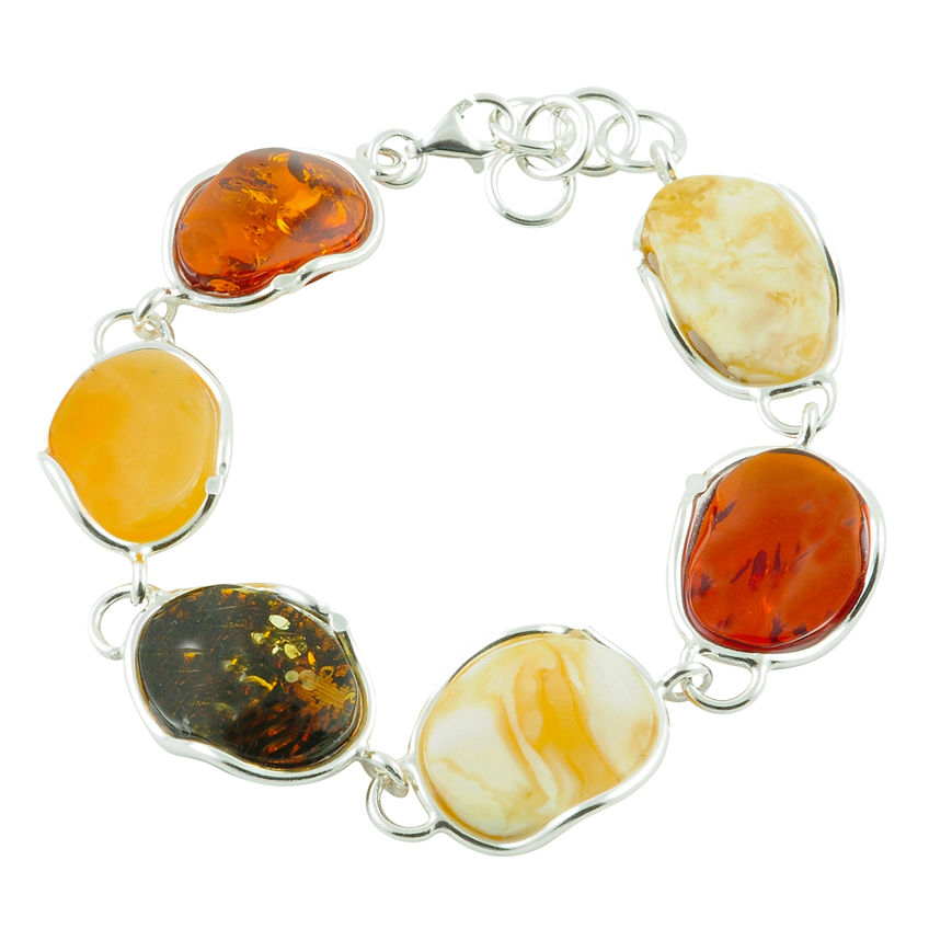 Multi-Coloured Amber Free Form Bracelet