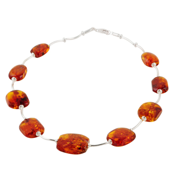 Hand Cut Amber Tube Collar