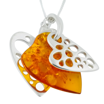 Amber Heart Pendant Necklace