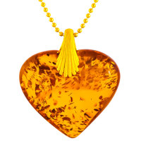 Amber Heart with Gold plated Silver Shell Pendant