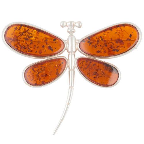 Dragonfly Cognac Amber Brooch