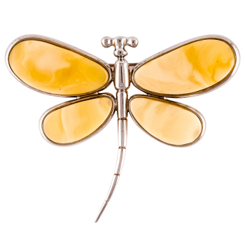 Dragonfly White Baltic Amber Brooch