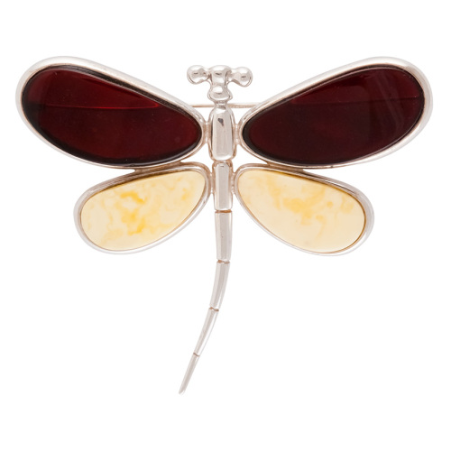 Dark Cherry and White Baltic Amber set in Sterling Silver Dragonfly Brooch
