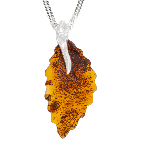 Cognac Amber Birch Leaf pendant with cubic Zircinia