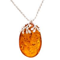 Cognac Baltic Amber Leaf Detail Pendant
