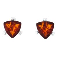 Triangular Cognac Baltic Amber Claw Set Stud Earrings