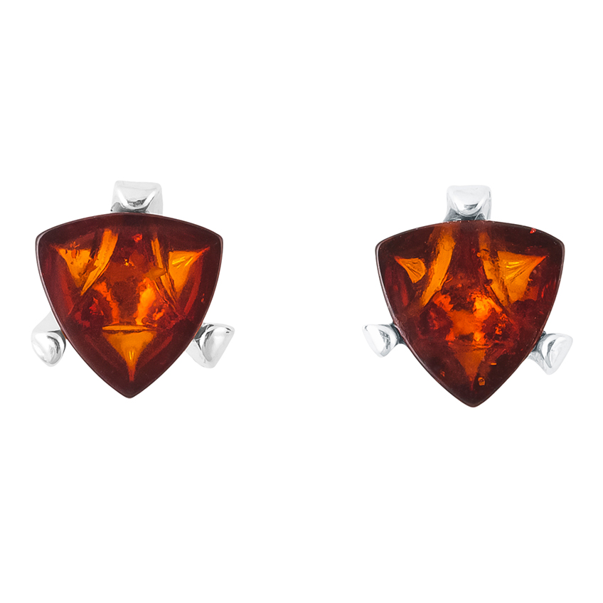 Triangular Cognac Baltic Amber Claw Set Stud Earrings