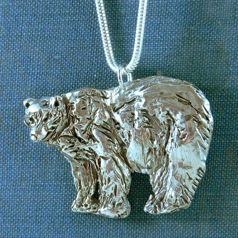 Silver Grizzly bear totem pendant - hand carved one of a kind lost wax