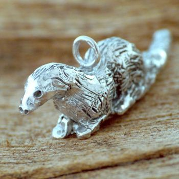 Solid Silver Otter Totem Charm - One of a Kind