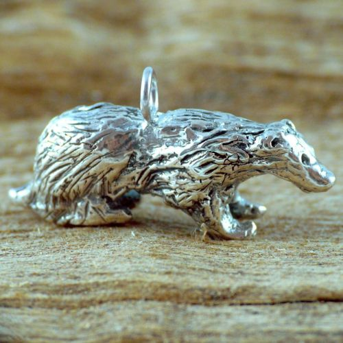 Solid silver Badger Totem Charm