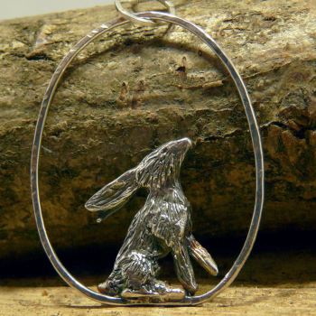 Solid Silver  Sky Gazing Hare Pendant - One of a Kind