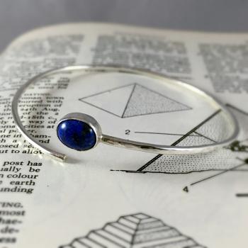 Lapis lazuli and silver bangle
