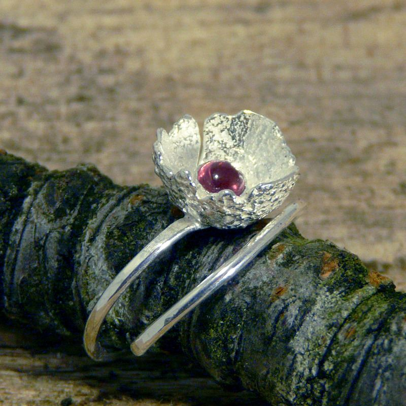 Solid Silver Acorn Ring With Garnet Gem - Each one different
