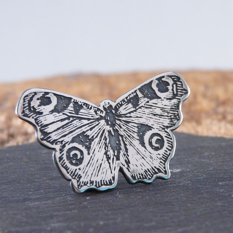 Peacock butterfly lapel pin brooch