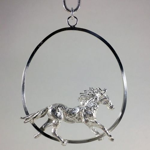 Solid Silver Galloping Horse Pendant - One of a Kind