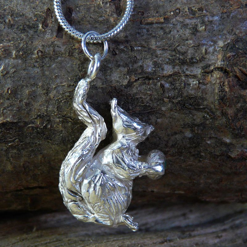 Solid Silver Squirrel Pendant Charm with Emerald