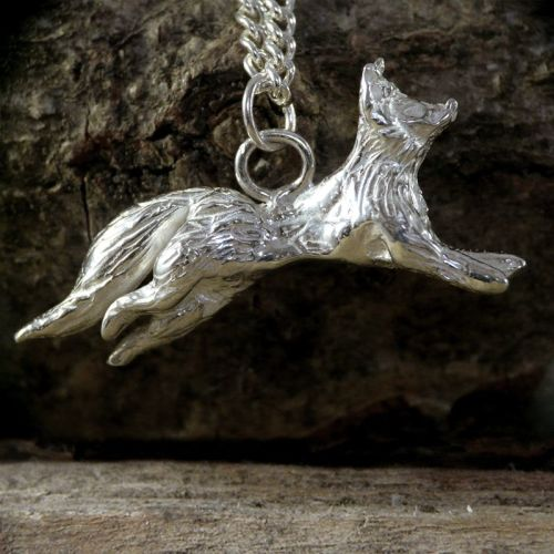 Solid Silver Running Fox Pendant - One of a Kind