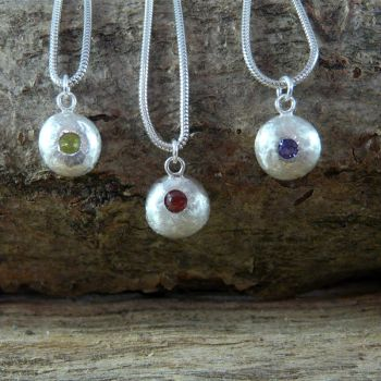 Solid Silver Nugget with Gemstone - Peridot, Amethyst, Garnet