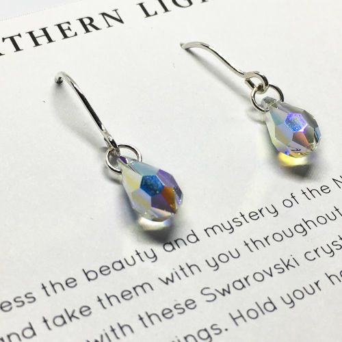 Swarovski Crystal And Hand formed Sterling Silver Earrings - Northern Light