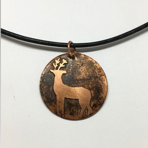 Hand Etched Copper Wild Deer Pendant Necklace