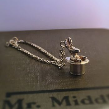 Solid Silver Magician's Rabbit in Top Hat Bracelet / Necklace