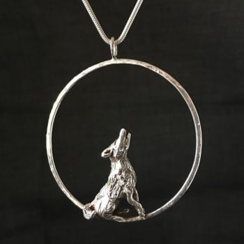 Moon Gazing Wolf Solid Silver Handmade Pendant