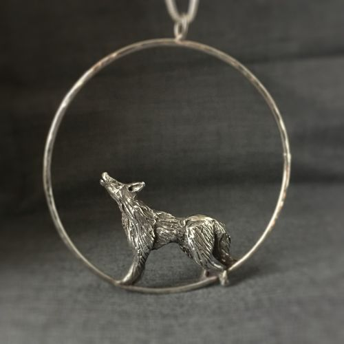 Lone Wolf Solid Silver Handmade Pendant