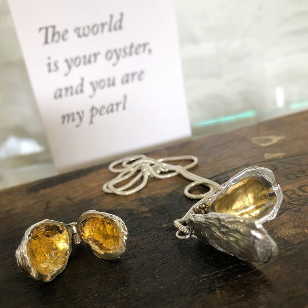 Oyster Locket with 24k gold