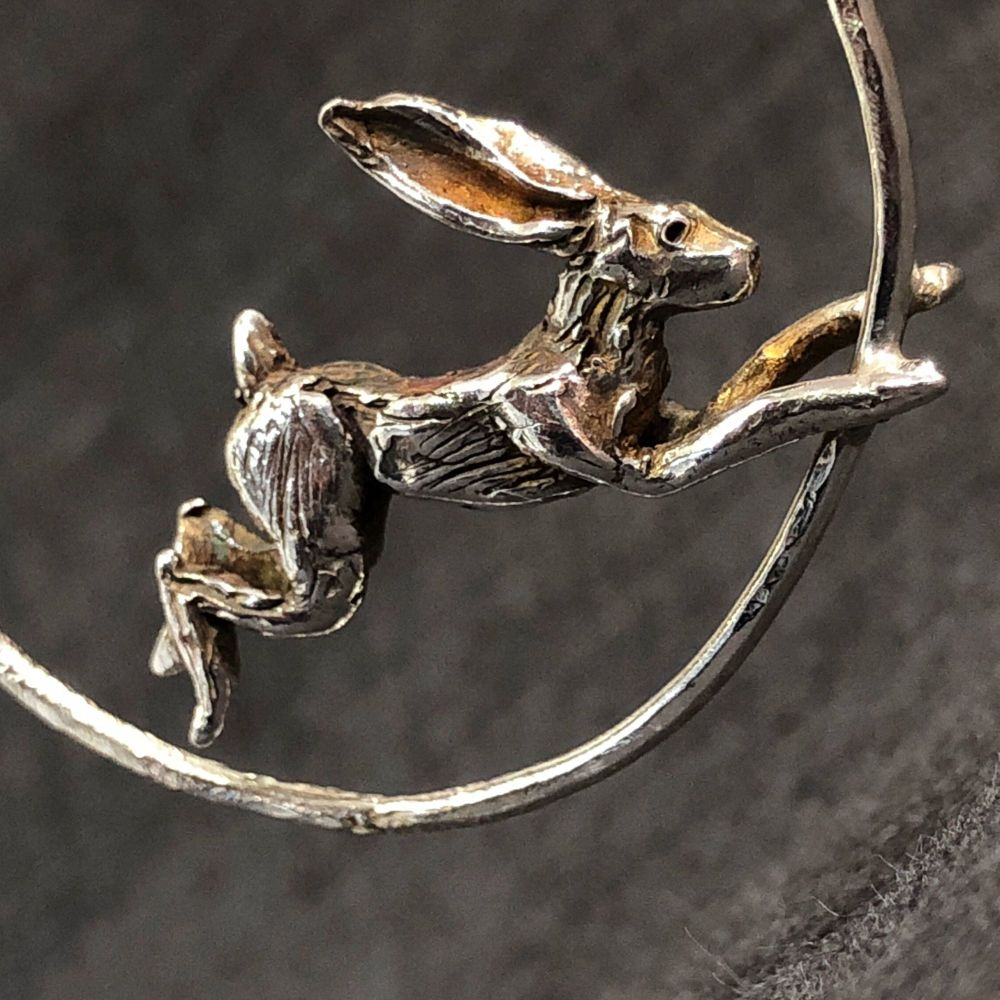 Solid Silver Leaping Hare Pendant - One of a Kind