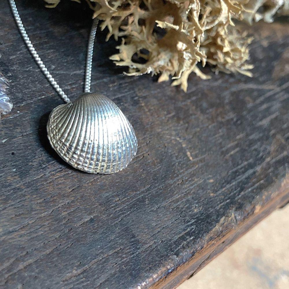 Small Solid Silver Sea Shell Pendant